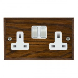 Hamilton Woods Chamfered Dark Oak 2 Gang 13A Switched Socket with White Insert