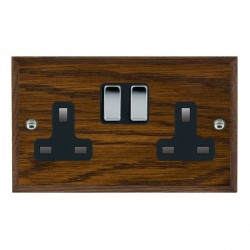 Hamilton Woods Chamfered Dark Oak 2 Gang 13A Switched Socket with Black Insert
