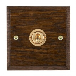 Hamilton Woods Chamfered Dark Oak 1 Gang 2 Way Toggle with Polished Brass Insert