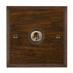 Hamilton Woods Chamfered Dark Oak 1 Gang 2 Way Toggle with Antique Brass Insert