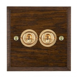 Hamilton Woods Chamfered Dark Oak 2 Gang 2 Way Toggle with Polished Brass Insert