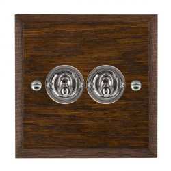 Hamilton Woods Chamfered Dark Oak 2 Gang 2 Way Toggle with Bright Chrome Insert