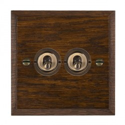 Hamilton Woods Chamfered Dark Oak 2 Gang 2 Way Toggle with Antique Brass Insert