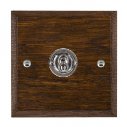 Hamilton Woods Chamfered Dark Oak 1 Gang Intermediate Toggle with Bright Chrome Insert