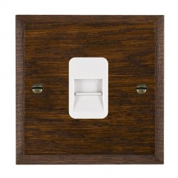 Hamilton Woods Chamfered Dark Oak 1 Gang Telephone Master Outlet with White Insert