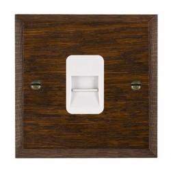 Hamilton Woods Chamfered Dark Oak 1 Gang Telephone Master Outlet with White Insert
