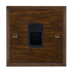 Hamilton Woods Chamfered Dark Oak 1 Gang Telephone Slave Outlet with Black Insert