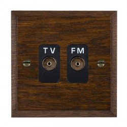 Hamilton Woods Chamfered Dark Oak 2 Gang Isolated TV/FM 1 in/2 out Outlet with Black Insert
