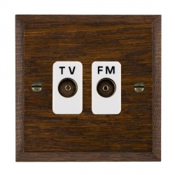 Hamilton Woods Chamfered Dark Oak 2 Gang Isolated TV/FM 1 in/2 out Outlet with White Insert