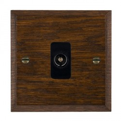Hamilton Woods Chamfered Dark Oak 1 Gang Isolated TV 1 in/1 out Outlet with Black Insert