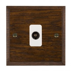 Hamilton Woods Chamfered Dark Oak 1 Gang Isolated TV 1 in/1 out Outlet with White Insert