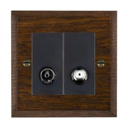 Hamilton Woods Chamfered Dark Oak 1 Gang TV + 1 Gang Satellite Outlet with Black Insert
