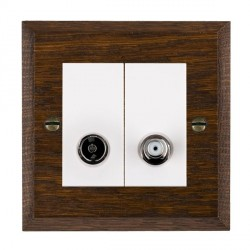 Hamilton Woods Chamfered Dark Oak 1 Gang TV + 1 Gang Satellite Outlet with White Insert