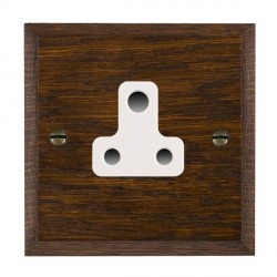 Hamilton Woods Chamfered Dark Oak 1 Gang 5A Unswitched Socket with White Insert