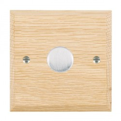 Hamilton Woods Chamfered Light Oak 1 Gang 2 way 200VA Dimmer with Satin Chrome Insert