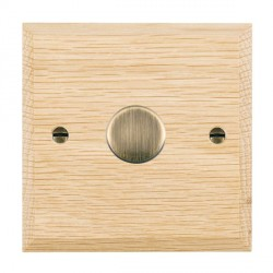 Hamilton Woods Chamfered Light Oak 1 Gang 2 way 200VA Dimmer with Antique Brass Insert