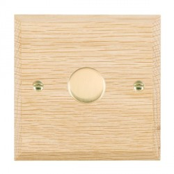 Hamilton Woods Chamfered Light Oak 1 Gang 2 way 300VA Dimmer with Polished Brass Insert