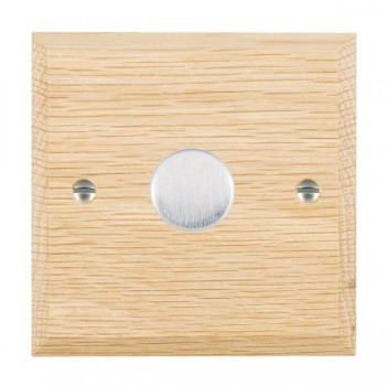 Hamilton Woods Chamfered Light Oak 1 Gang 2 way 600W Dimmer with Satin Chrome Insert