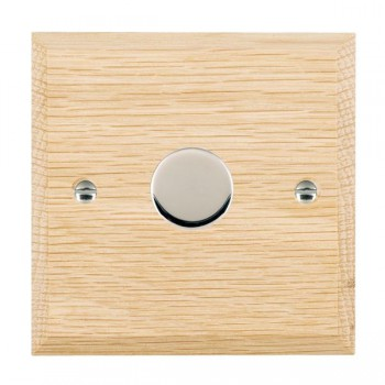 Hamilton Woods Chamfered Light Oak 1 Gang 2 way 600W Dimmer with Bright Chrome Insert