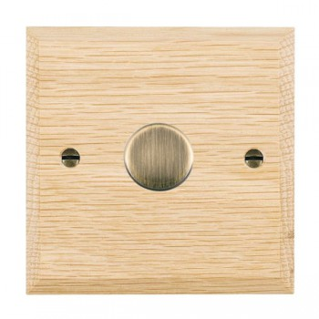 Hamilton Woods Chamfered Light Oak 1 Gang 2 way 600W Dimmer with Antique Brass Insert