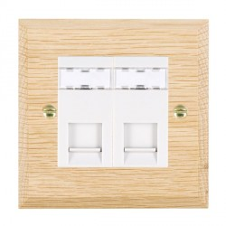 Hamilton Woods Chamfered Light Oak 2 Gang RJ12 Outlet Unshielded Outlet with White Insert