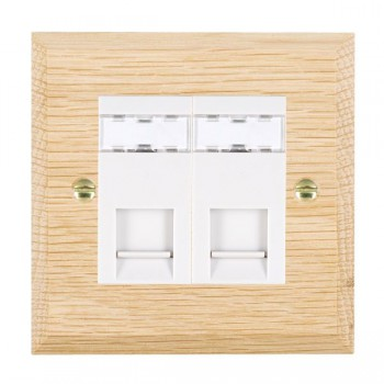 Hamilton Woods Chamfered Light Oak 2 Gang RJ45 Cat 5E Unshielded Outlet with White Insert