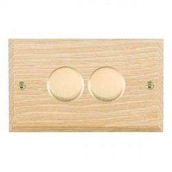 Hamilton Woods Chamfered Light Oak 2 Gang 2 way 400W Dimmer with Polished Brass Insert