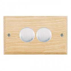 Hamilton Woods Chamfered Light Oak 2 Gang 2 way 400W Dimmer with Satin Chrome Insert