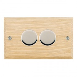 Hamilton Woods Chamfered Light Oak 2 Gang 2 way 400W Dimmer with Bright Chrome Insert