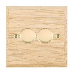 Hamilton Woods Chamfered Light Oak 2 Gang Multi-way 250W/VA Dimmer with Polished Brass Insert
