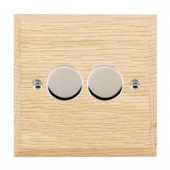 Hamilton Woods Chamfered Light Oak 2 Gang Multi-way 250W/VA Dimmer with Bright Chrome Insert