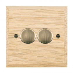 Hamilton Woods Chamfered Light Oak 2 Gang Multi-way 250W/VA Dimmer with Antique Brass Insert