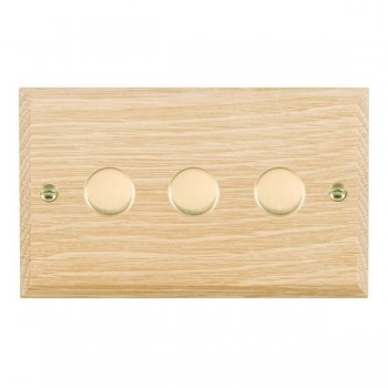 Hamilton Woods Chamfered Light Oak 3 Gang 2 way 400W Dimmer with Polished Brass Insert