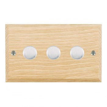 Hamilton Woods Chamfered Light Oak 3 Gang 2 way 400W Dimmer with Satin Chrome Insert