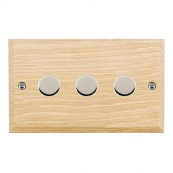 Hamilton Woods Chamfered Light Oak 3 Gang 2 way 400W Dimmer with Bright Chrome Insert