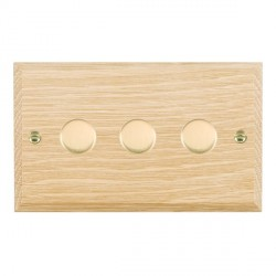 Hamilton Woods Chamfered Light Oak 3 Gang Multi-way 250W/VA Dimmer with Polished Brass Insert