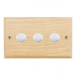 Hamilton Woods Chamfered Light Oak 3 Gang Multi-way 250W/VA Dimmer with Satin Chrome Insert
