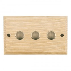 Hamilton Woods Chamfered Light Oak 3 Gang Multi-way 250W/VA Dimmer with Antique Brass Insert