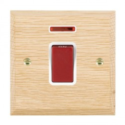 Hamilton Woods Chamfered Light Oak 1 Gang 45A Double Pole Red + Neon Rocker with White Insert