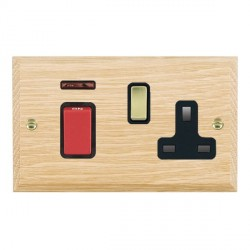 Hamilton Woods Chamfered Light Oak 1 Gang 45A Double Pole Red + Neon + 1 Gang 13A Switched Socket with Black Insert