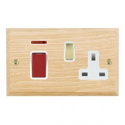 Hamilton Woods Chamfered Light Oak 1 Gang 45A Double Pole Red + Neon + 1 Gang 13A Switched Socket with Wh...
