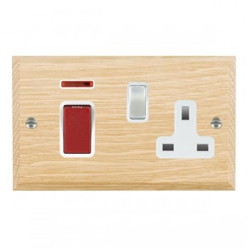 Hamilton Woods Chamfered Light Oak 1 Gang 45A Double Pole Red + Neon + 1 Gang 13A Switched Socket with White Insert
