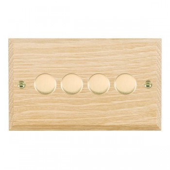 Hamilton Woods Chamfered Light Oak 4 Gang 2 way 400W Dimmer with Polished Brass Insert