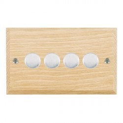 Hamilton Woods Chamfered Light Oak 4 Gang 2 way 400W Dimmer with Satin Chrome Insert