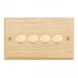Hamilton Woods Chamfered Light Oak 4 Gang Multi-way 250W/VA Dimmer with Polished Brass Insert