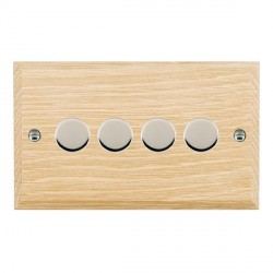 Hamilton Woods Chamfered Light Oak 4 Gang Multi-way 250W/VA Dimmer with Bright Chrome Insert