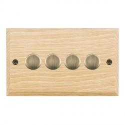 Hamilton Woods Chamfered Light Oak 4 Gang Multi-way 250W/VA Dimmer with Antique Brass Insert