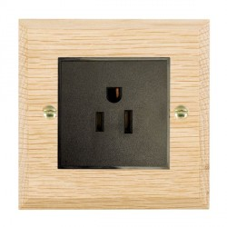 Hamilton Woods Chamfered Light Oak 1 Gang 15A 127V American Unswitched Socket with Black Insert