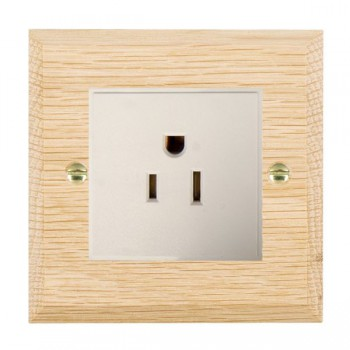 Hamilton Woods Chamfered Light Oak 1 Gang 15A 127V American Unswitched Socket with White Insert
