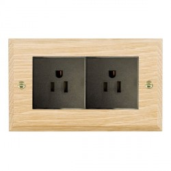 Hamilton Woods Chamfered Light Oak 2 Gang 15A 127V American Unswitched Socket with Black Insert